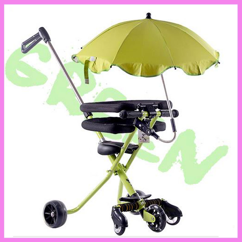 Five Wheels Portable Folding Tricycle Hand Push Walker Baby Tricycle Stroller with Umbre ...