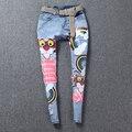 2016 новый летняя мода симпатичные мультфильм медведь джинсы женщины блестками джинсовые для молодых дам буквы блестящие заклепки джинсы NZ15