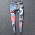 2016 new summer fashion cute cartoon bear jeans women sequined denim for young ladies letters shiny rivet denim jeans NZ15