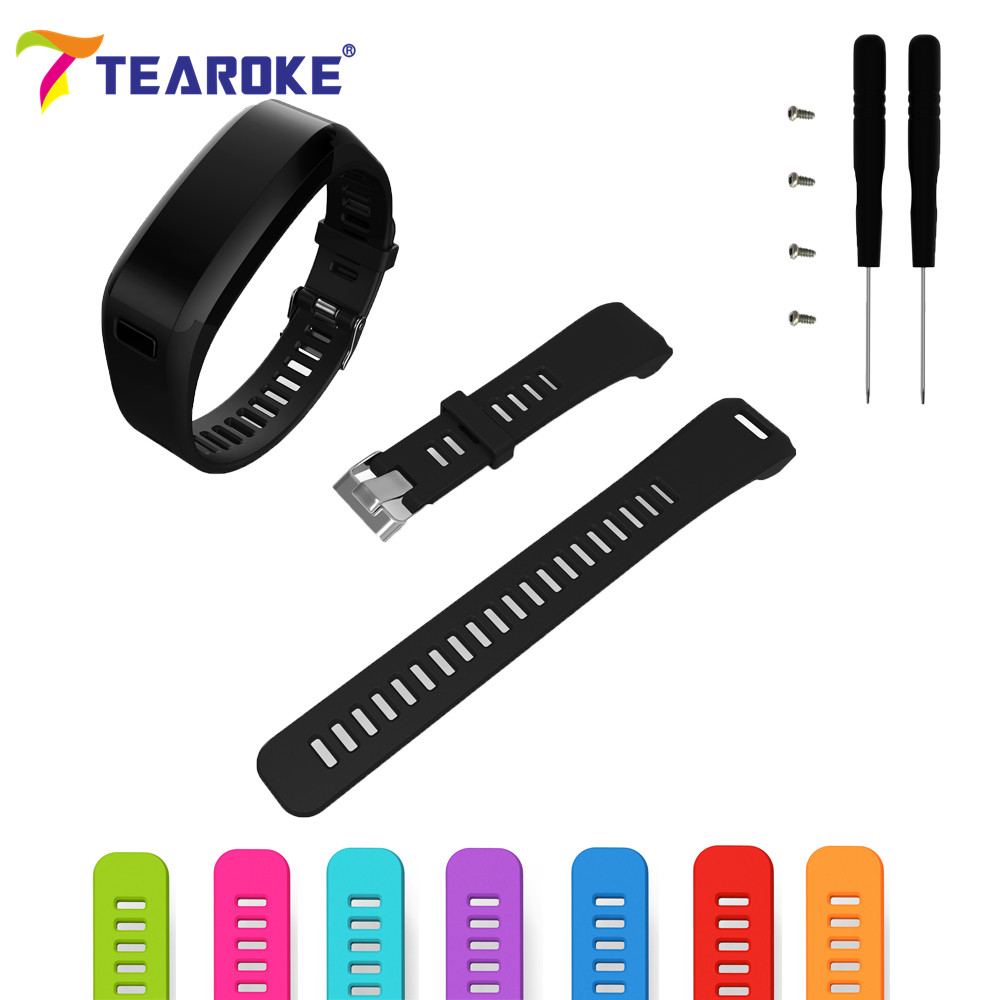все цены на TEAROKE 8 Colors Silicone Soft Watchband for Garmin vivosmart HR + Tools 21mm Cool Replacement Bracelet Sport Watch Band Strap онлайн
