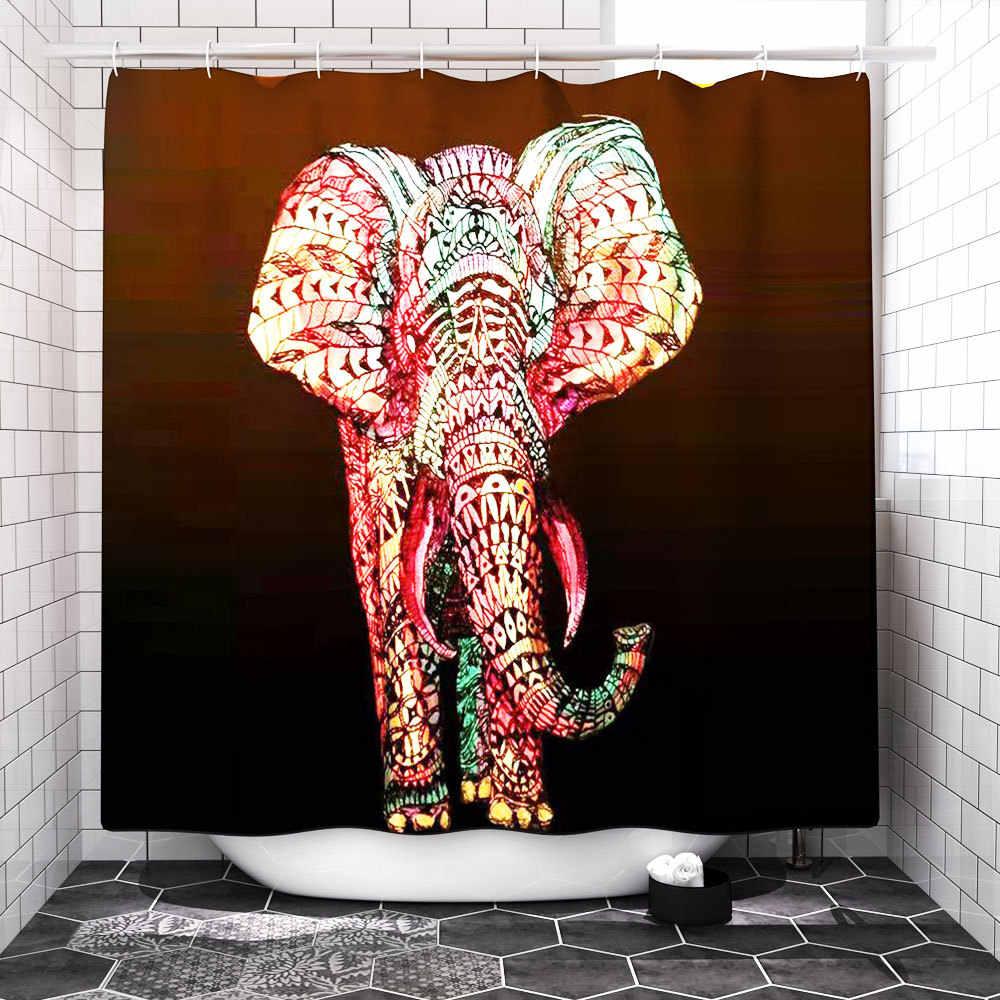 متعدد الألوان الفيل 4 قطعة/المجموعة دش الستار بُساط للحمام مجموعة المرحاض غطاء طقم مشايات حمام يمتص الماء مضاد للبكتريا الحمام اكسسوارات الستائر مع السنانير