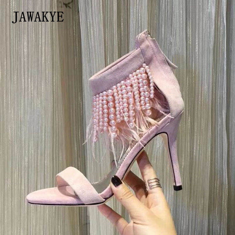 2018 Newest Feather Gladiator Sandals Woman Open Toe Pearl Bead High Heel Shoes Woman Sexy Party Shoes ultra metallic blade heel caged summer booties shoes runway cele style sexy open toe buckled woman gladiator party sandals shoes