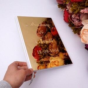 Image 3 - Kişiselleştirilmiş albüm ayna beyaz boş düğün İmza ziyaretçi defteri özel akrilik etiket konuk çek kitap parti dekor Favor