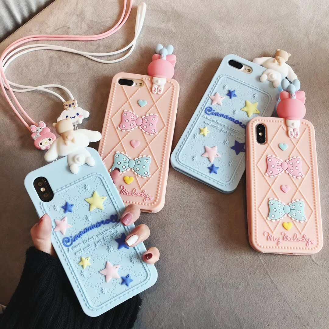 3D cartoon cin cinnamoroll phone case for iphone 6 6s 7 8 plus X XR XS MAX  soft silicone Cover Fundas Coque