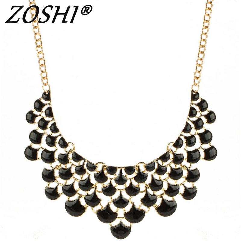 c1b1cd3e3dab ZOSHI Bohemia Chic Vintage Golden Plated Chain Choker Necklace Acrylic Beads  Women Necklace Pendants 2017 Maxi Accessories