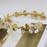 Fashion Korean Purchase Queen Crown Embossed Ceramic Wide Headband Headband Metal Leaf Pink Flower Headband FREE