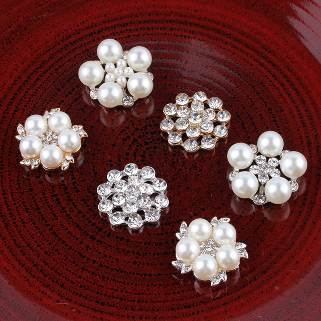 10PCS mix styles Vintage Handmade Flower Rhinestone Buttons Bling Flatback  Crystal Pearl Decorative Buttons Flower Center 2a6ccb82dcab