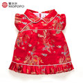 Estilo chinês Vermelho Flor Meninas Vestidos de Verão 2017 Para a Festa de Casamento E Vestidos de Princesa Para As Meninas Crianças Trajes de Roupas