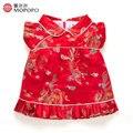 Estilo chino Rojo Flor Niñas Vestidos de Verano 2017 Para El Partido Y La Boda Vestidos de Princesa Para Las Niñas Niños Trajes de Ropa