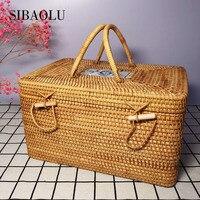 SIBAOLU Tea Cans Storage Box Wicker Basket Rattan Hand Weaving Food Gift Storage Tank Home Living Room Large Volume Supplies