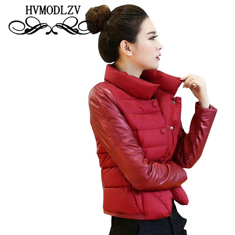 Puls Size Winter Women Short Cotton Jacket Coat  2017 New Light And Thin PU Leather Cotton Jacket Coat Wommen Leisure Coat ls234
