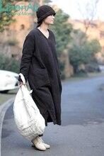 LinenAll clothing Women's 100% cotton jacquard black V-neck loose medium-long cotton-padded wadded cotton dress female YIJIU