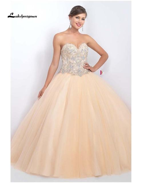 Champagne Quinceanera Vestidos Vestidos De baile Sweetheart frisada cristais Tulle Vestidos De 15 Anos vestido 15 Anos Debutante vestido