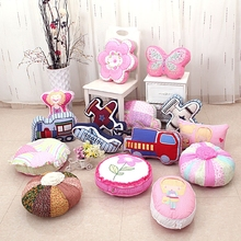 Lovely Decorative Cartoon Applique Embroidered Geometry Floral Toy Animal Sweet Gift Children Pink Sofa Car Cushion Throw Pillow