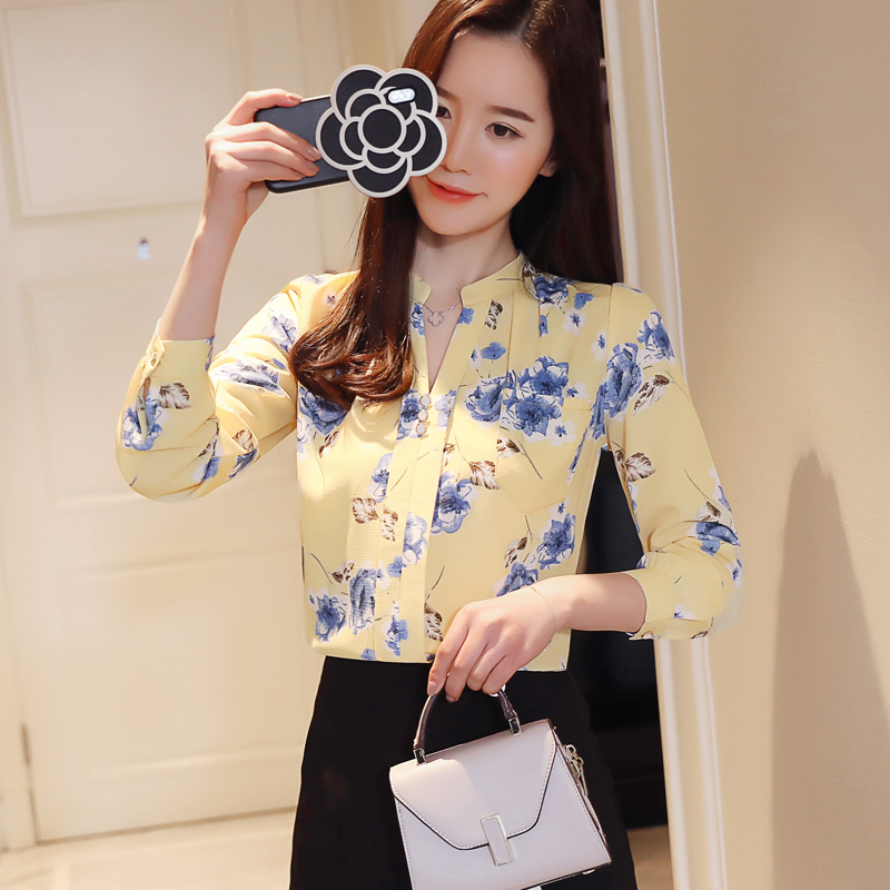 40 Camisa Blusa Las Gasa De Mujeres Manga Moda Z0001 Blusas Femenina A7 Impresión Mujer Larga Camisas Tops 2019 aSq47z4w