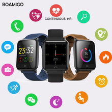Men Women Q9Smart Watch BOAMIGO fitness tracker Heart rate monitor bracelet Wristband digital sport watches For IOS Android +box