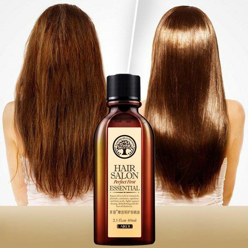 Traitement d'huile essentielle de soin des cheveux 60ml pour hydrater les cheveux mous réparation Pure de cheveux secs d'huile d'argan