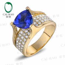 CaiMao 18KT/750 Yellow Gold 3.04 ct Natural IF Blue Tanzanite AAA 0.52 ct Full Cut Diamond Engagement Gemstone Ring Jewelry