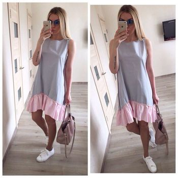 2019 Casual Loose Patchwork Sleeveless Ruffles O-Neck Mini Dress Fashion Women Summer Dresses Vestidos