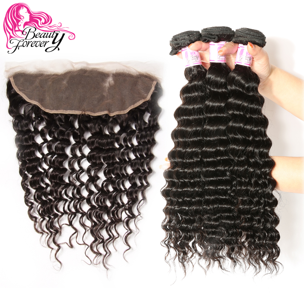 Beauty Forever Malaysian Hair Deep Wave 3 Bundles With Lace Frontal Closure 13 4 Free Part