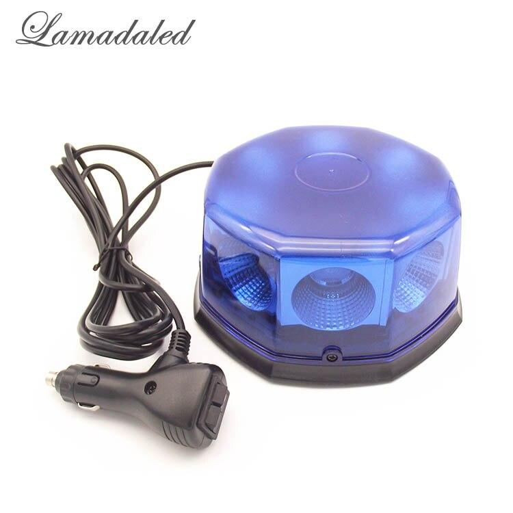 Lamadaled DC12V24V super bright blue 40W auto led strobe lights beacon with magnetic pol ...