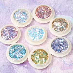 Image 2 - 8Pcs/Set Mermaid 3D Glitter Nail Flakes Hexagon Colorful Sequins  UV Gel Polish Sparkling Powder Dust DIY Charm Glitter Flakes