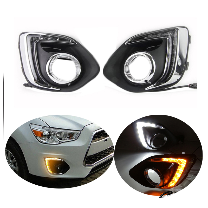 LED DRL Day Lights For Mitsubishi ASX 2013 2014 2015 Daytime Running Light Driving Fog Run Lamp With Yellow Turn Signal summer children tracksuit 2018 cool kid boys clothes set short sleeve floral t shirt short pants 2pcs baby boy beach clothes set