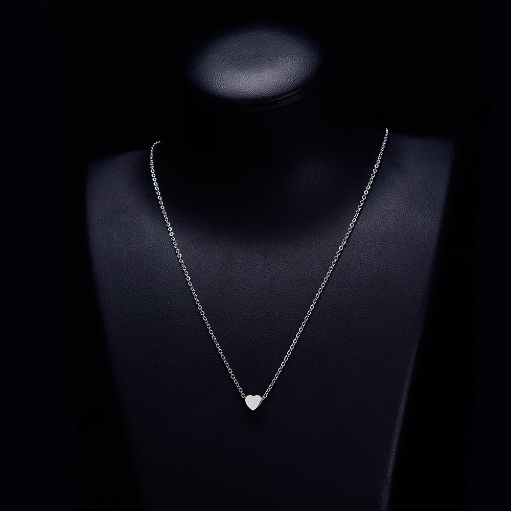Long Chain Heart Necklace For Women Gold Silver Stainless Steel Pendant Necklace Intital Chain Choker femme Jewelry Fashion 2019 in Pendant Necklaces from Jewelry Accessories