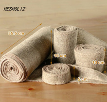 10M Hessian Jute Burlap Roll Vintage Wedding Decoration Table Runner Wedding Party Decoration/Favors wedding party lace vintage jute table runner burlap fabric for burlap chair sashes burlap ribbon wedding decor supplies 15 240cm