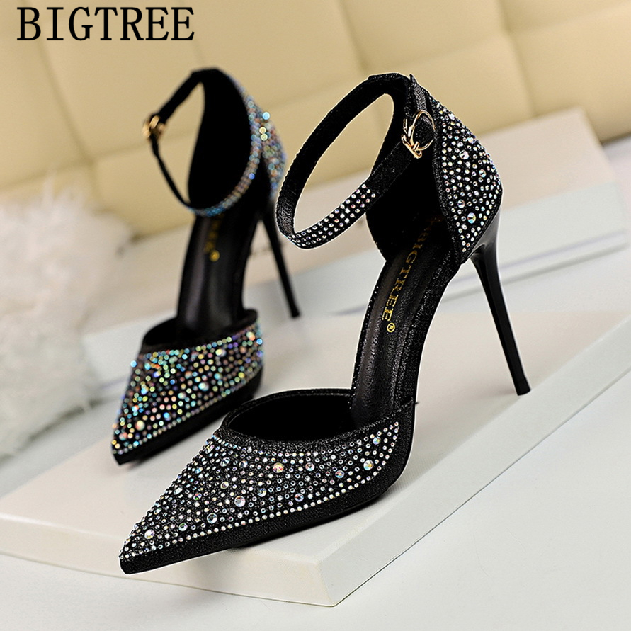 bigtree shoes wedding rhinestone heels women pumps fetish high heels mary jane shoes tacones mujer pointed toe high heels buty bigtree shoes wedding rhinestone heels women pumps fetish high heels mary jane shoes tacones mujer pointed toe high heels buty