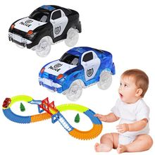 LED Car Toy DIY With Flashing Lights Track Glowing In Dark Racing Cars For Kids