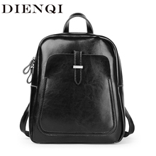DIENQI Leather Women Backpacks Shoulder Bag Genuine Leather Female Backpack Fashion Schoolbag Vintage Black Ladies Bag Back Pack