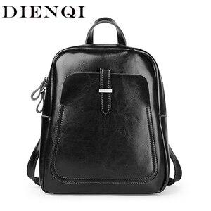 Image 1 - DIENQI Leather Women Backpacks Shoulder Bag Genuine Leather Female Backpack Fashion Schoolbag Vintage Black Ladies Bag Back Pack