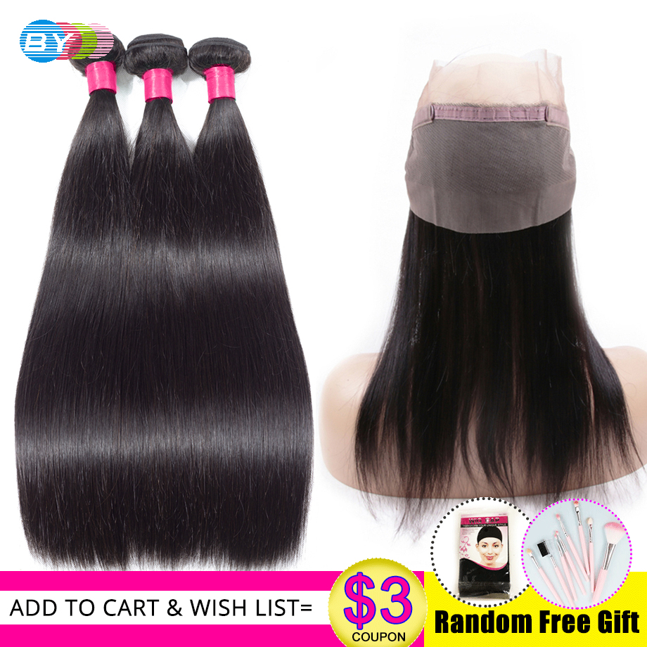 360 Lace Frontal With Bundles Straight Hair Brazilain Human Hair Weave Bundles With Closure With Baby