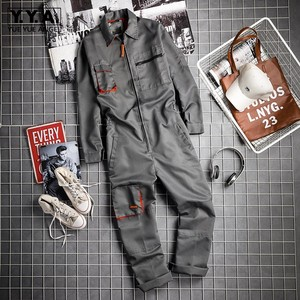 Vintage Harajuka Mens Long Sleeve Cargo Overalls Zipper Fly Pockets Rompers Mens Jumpsuit Fashion Loose Casual Plus Size S-4XL(China)