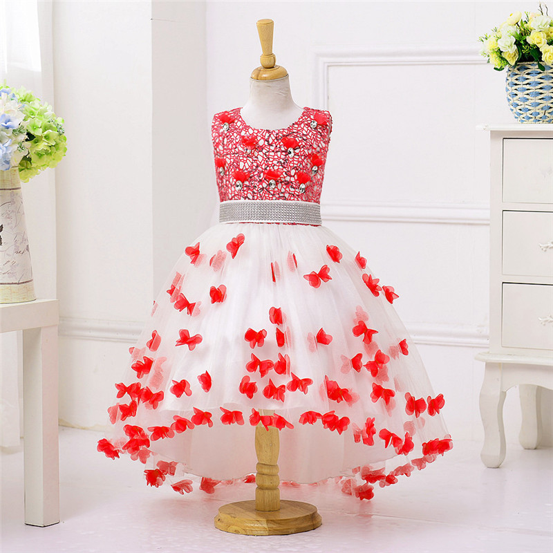 цены Hook Flower Summer Butterfly Dresses for Girl Wedding Party Trailing Sleeveless Elegant Butterfly Princess Dress 12 Years