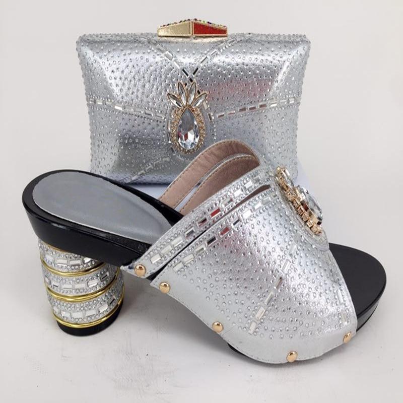 Элегантные вечерние итальянский дизайн серебра насос тапочки обувь с сумочкой комплект украшен stones126-1