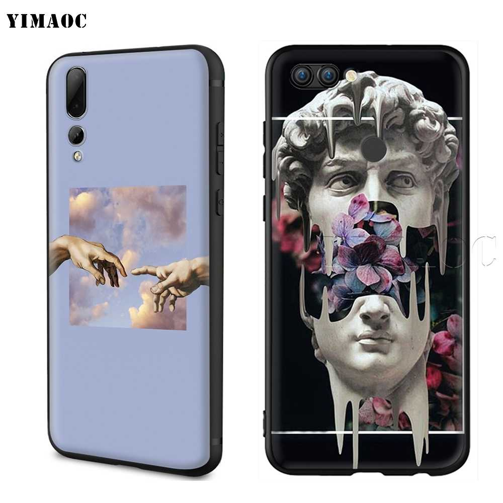 Yimaoc Michelangelo Seni Patung Estetika Silicone Case untuk HUAWEI Mate 10 P8 P9 P10 P20 Lite Pro P Y7 Y9 smart Mini 2017 2018