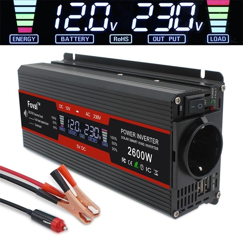1500 W/2000 W/2600 W przetwornica napięcia zmodyfikowany wyświetlacz sinusoidalny LCD DC 12V do AC 220V Solar 2 USB transformator samochodowy konwersja gniazdo ue