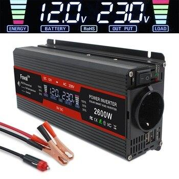 1500W/2000W/2600W Power Inverter Modified Sine Wave LCD Display DC 12V To AC 220V Solar 2 USB Car Transformer Convert EU Socket