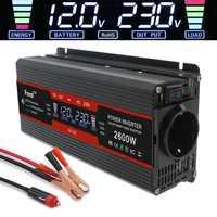 Inversor de corriente de 1500 W/2000 W/2600 W pantalla LCD de onda sinusoidal modificada cc 12V a CA 220V transformador de coche Solar 2 USB convertir toma de la UE