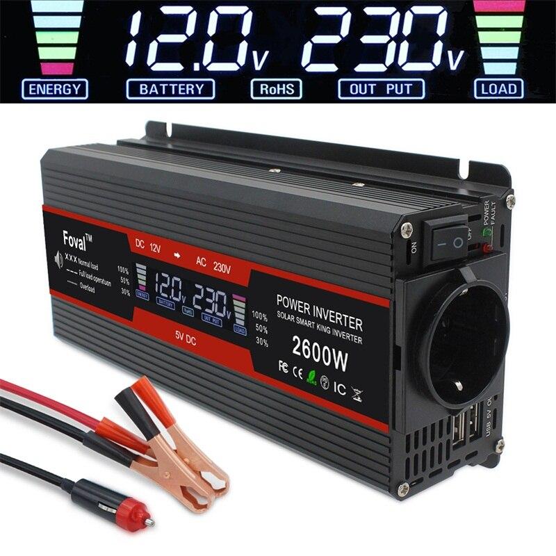 Inversor de corriente de 1500W/2000W/2600W, pantalla LCD de onda sinusoidal modificada, cc 12V a CA 220V, transformador Solar de 2 USB para coche, convertidor de enchufe europeo