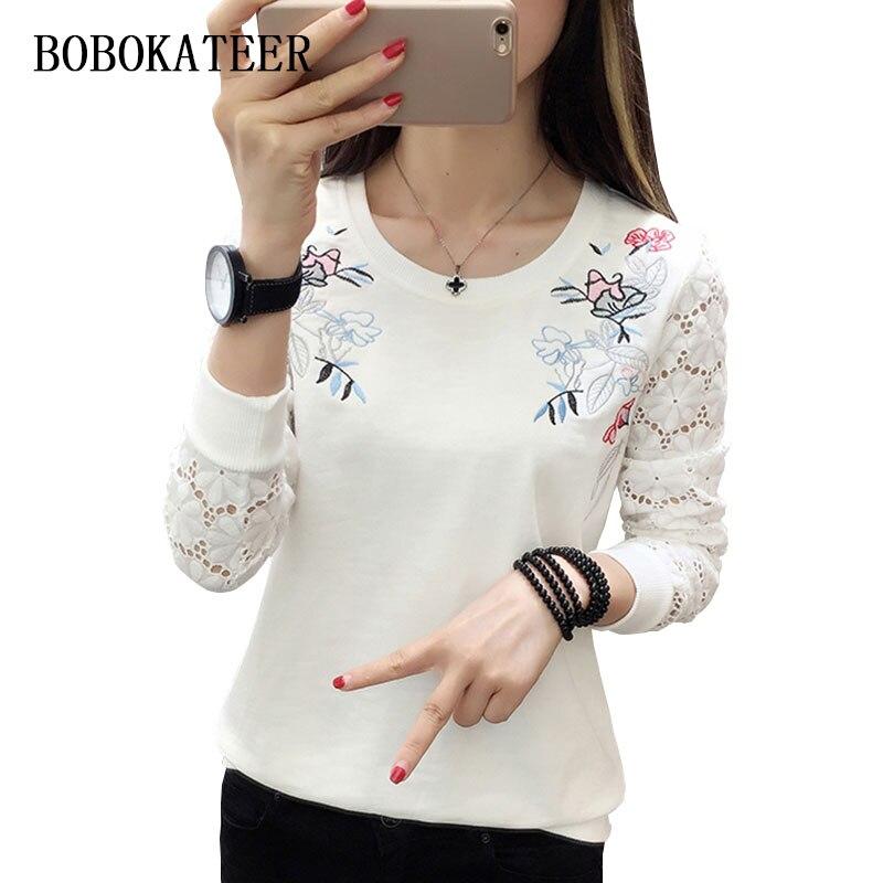 BOBOKATEER bordado t camisa mulheres camiseta lace tops t-shirt longo da luva das mulheres camisas engraçadas de t camiseta blusas mujer de moda 2019