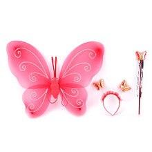3 pçs/lote fada princesa natal traje borboleta asa varinha bandana linda festa trajes princesa decoração menina crianças