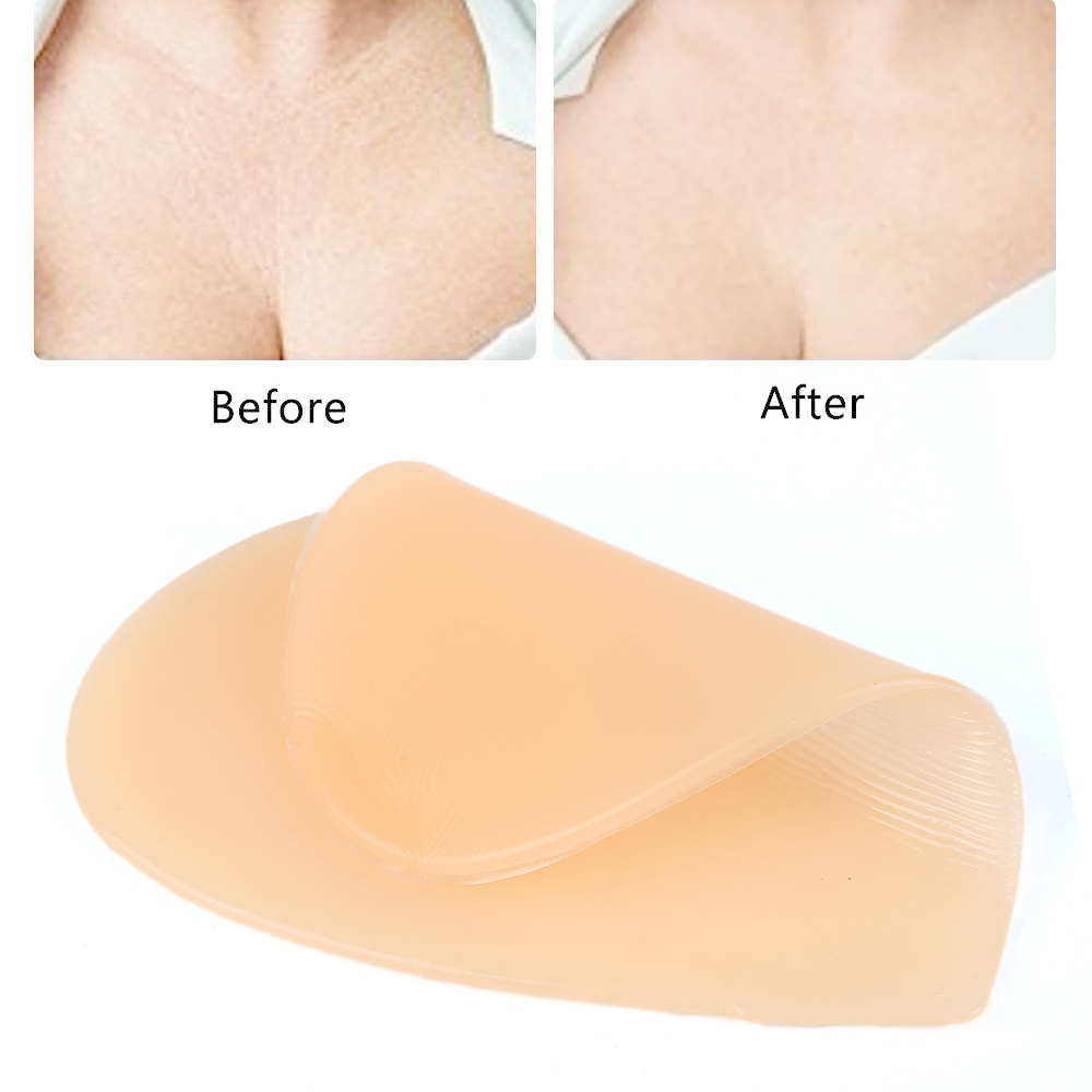 Reusable Women Skin Care Body Chest Anti Wrinkle Pads Medical Skin Color Grade Silicone Heart shaped Overnight Invisible Pads(China)