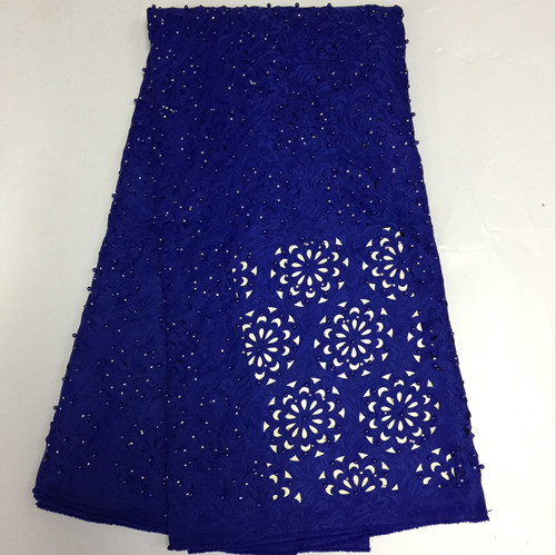 royal blue lace fabric laser cut lace with beads high quality beaded lace hollow out for sexy dreses 5yard/lot