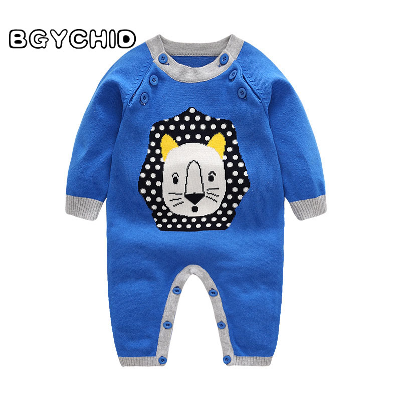 BGYCHID 2018 Baby Boy Clothes Jumpsuit Boys Knitted Tiny Cottons Animal Long Sleeve Newborn Clothes Costume baby girl boy romper tiny cottons white gray long sleeve angel wings baby clothes newborn jumpsuit rompers baby onesie costume
