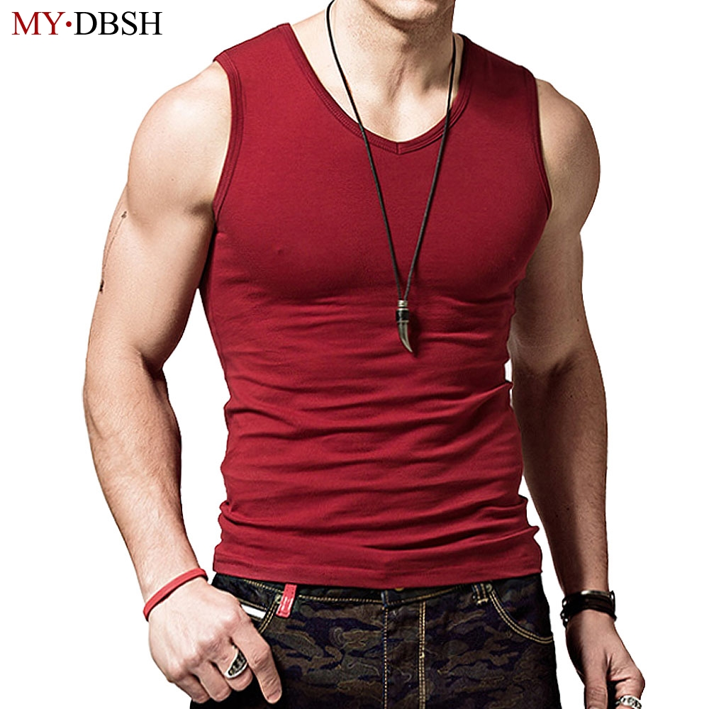 100% Cotton Big Size Summer Men's Clothing Tank Tops Solid ...