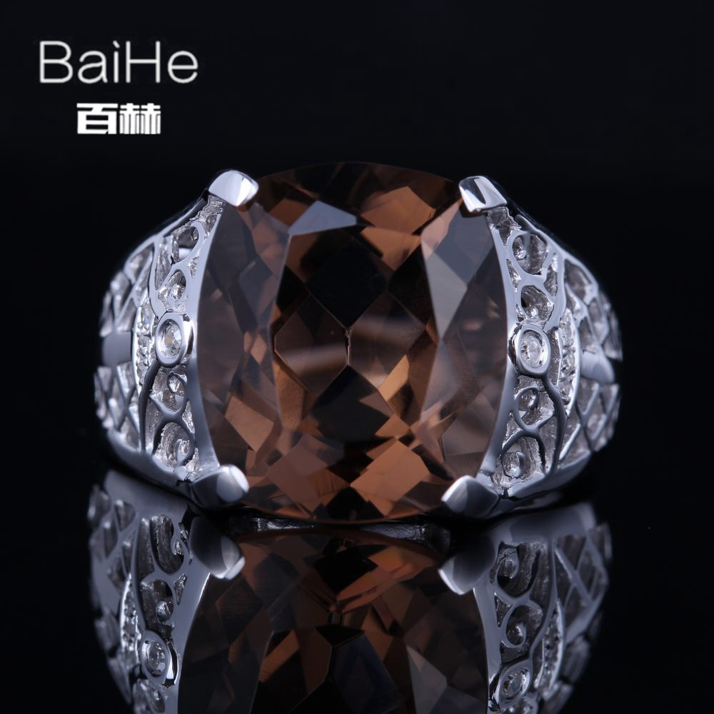 BAIHE Sterling Silver 925 8.8ct Certified Brown Flawless Cushion 100% Smokey Quartz Party Women Vintage Fine Jewelry unique RingBAIHE Sterling Silver 925 8.8ct Certified Brown Flawless Cushion 100% Smokey Quartz Party Women Vintage Fine Jewelry unique Ring