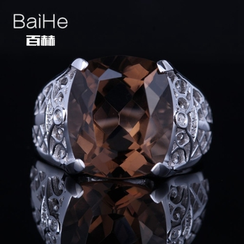 BAIHE Sterling Silver 925 8.8ct Certified Brown Flawless Cushion 100% Smokey Quartz Party Women Vintage Fine Jewelry unique Ring